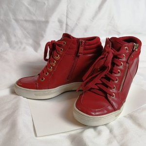 Red Sneakers Wedge Heel confortable fake leather